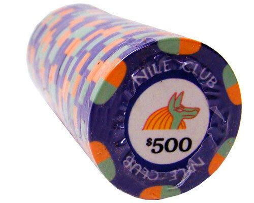 Chips - $500 Purple Nile Club 10 Gram Ceramic - 100 Poker Chips
