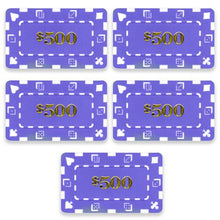 Chips - $500 Purple Square Chips Rectangular Poker Plaques
