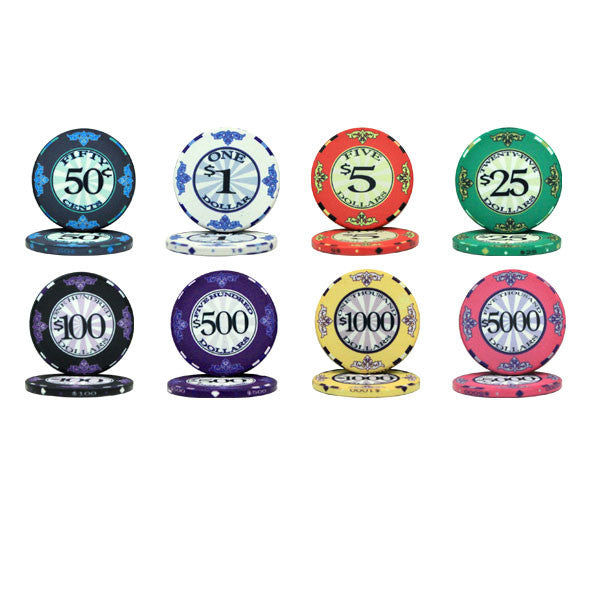 Chips - 500 Scroll 10 Gram Ceramic Poker Chips Set W Case