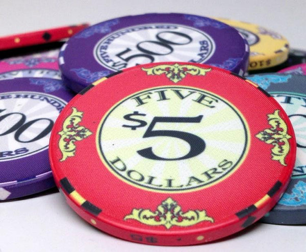 Chips - 500 Scroll 10 Gram Ceramic Poker Chips Set With Black Mahogany Case