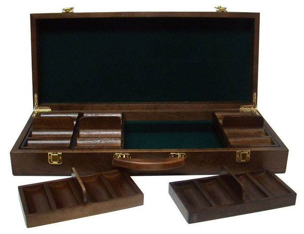 Chips - 500 Scroll 10 Gram Ceramic Poker Chips Set With Walnut Wood Case