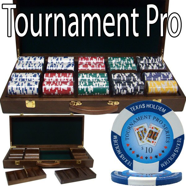 Chips - 500 Tournament Pro 11.5 Gram Poker Chips Set With Walnut Wood Case