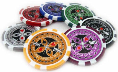 Chips - 500 Ultimate 14 Gram Poker Chips Set Aluminum Case Pre Packaged