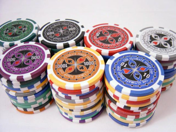 Chips - 500 Ultimate 14 Gram Poker Chips Set With Black Aluminum Case