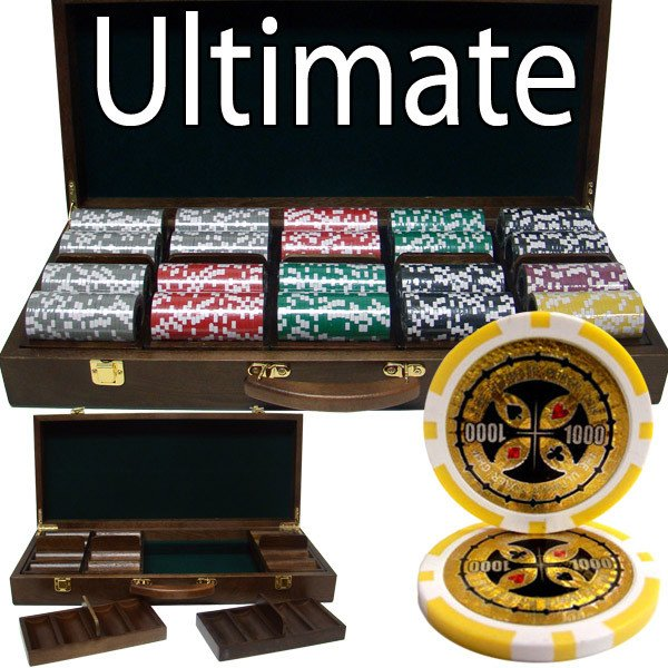 Chips - 500 Ultimate 14 Gram Poker Chips Set With Walnut Wood Case