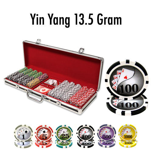 500 Yin Yang 13.5 Gram Poker Chips Set With Black Aluminum Case - The Poker Store .Com