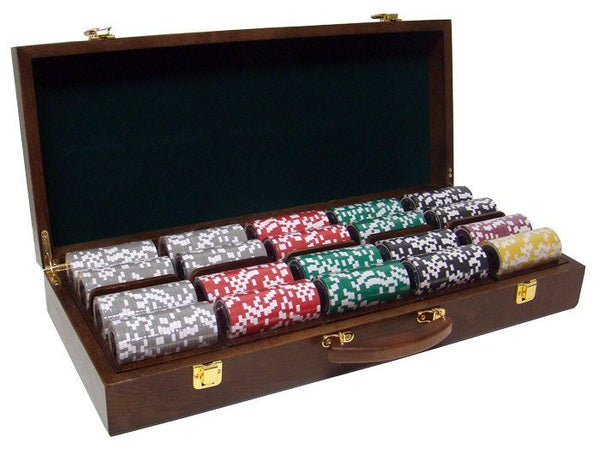 Chips - 500 Yin Yang 13.5 Gram Poker Chips Set With Walnut Wood Case