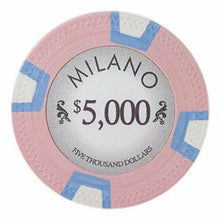 Chips - $5000 Five Thousand Dollars Milano 10 Gram Pure Clay - 100 Poker Chips
