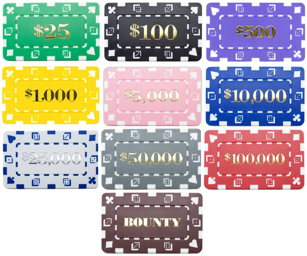 Chips - 60 Denominated Square Chips 32 Gram Rectangular Plaques With Case