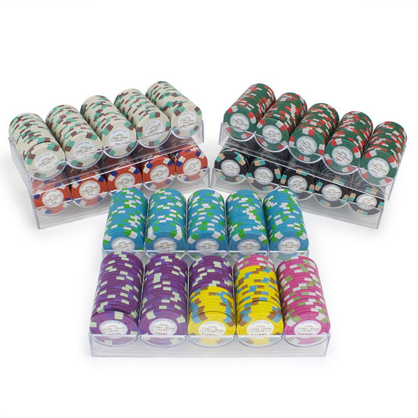 Chips - 600 Monaco Club 13.5 Gram Poker Chips Set With Acrylic Carrier
