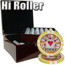 Chips - 750 High Roller 14 Gram Poker Chips Set With Mahogany Case