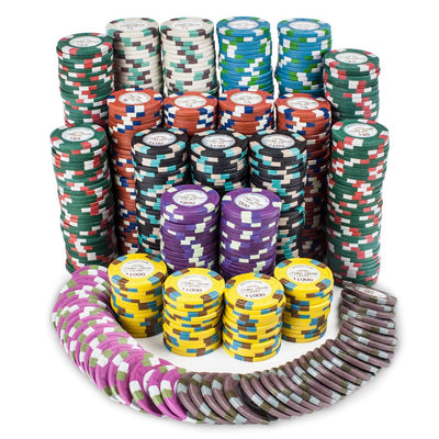 Chips - 750 Monaco Club 13.5 Gram Poker Chips Set With Aluminum Case