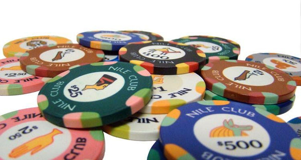 Chips - 750 Nile Club 10 Gram Ceramic Poker Chips With Mahogany Case