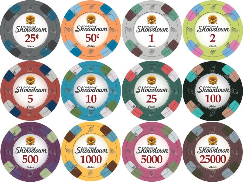 Chips - 750 Showdown Casino 13.5 Gram Poker Chips Set With Aluminum Case