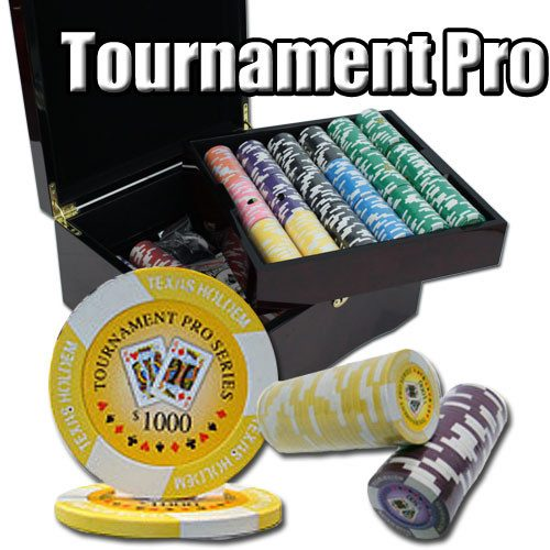 Chips - 750 Tournament Pro 11.5 Gram Poker Chips Set With Mahogany Case