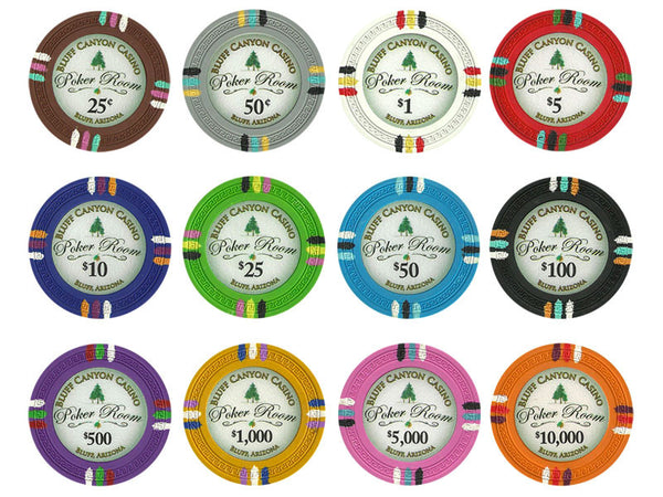 100 Claysmith Bluff Canyon 13.5 Gram Poker Chips Bulk - The Poker Store .Com