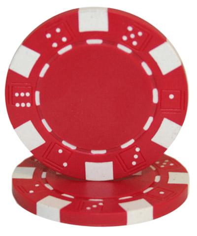 Chips - Red Striped Dice 11.5 Gram - 100 Poker Chips
