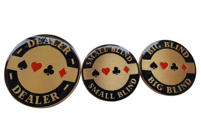 Double Sided Dealer, Small Blind, And Big Blind Poker Buttons