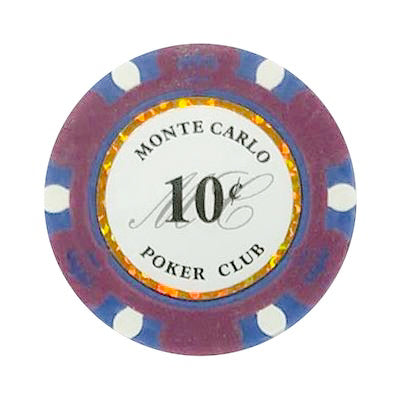10 Cents Monte Carlo Smooth 14 Gram Poker Chips