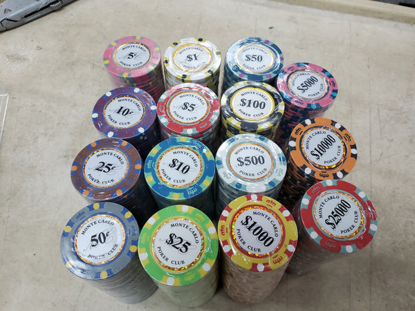 600 Monte Carlo Smooth 14 Gram Poker Chips with Aluminum Case