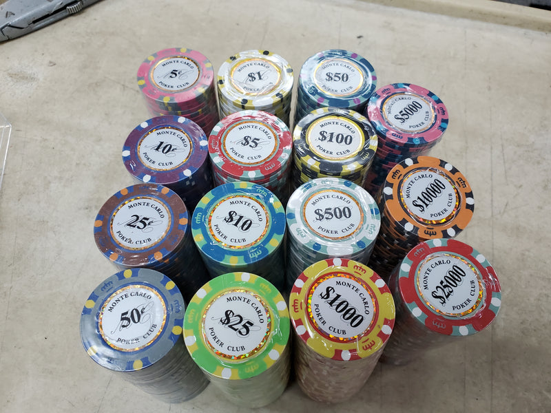 500 Monte Carlo Smooth 14 Gram Poker Chips Bulk