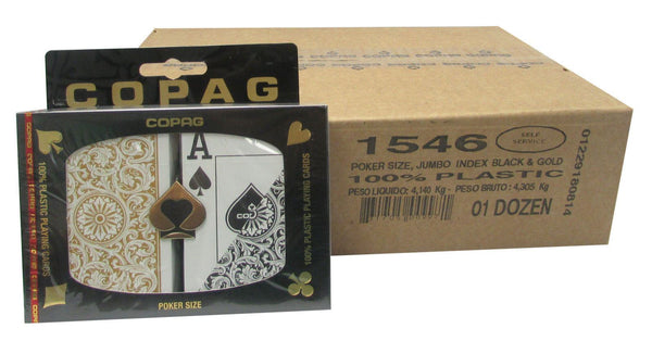 Playing Cards - 1 Dozen 12 Sets Copag Cards Black Gold Poker Size Jumbo Index