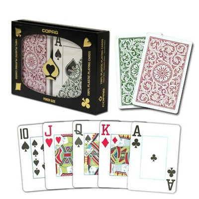 Playing Cards - 1 Dozen 12 Sets Copag Cards Green Burgundy Poker Size Jumbo Index