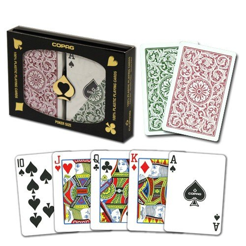 Playing Cards - 1 Dozen 12 Sets Copag Cards Green Burgundy Poker Size Standard Index