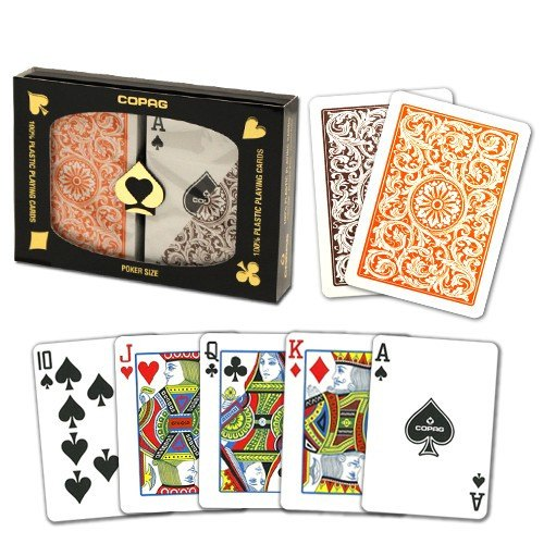Playing Cards - 1 Dozen 12 Sets Copag Cards Orange Brown Poker Size Standard Index