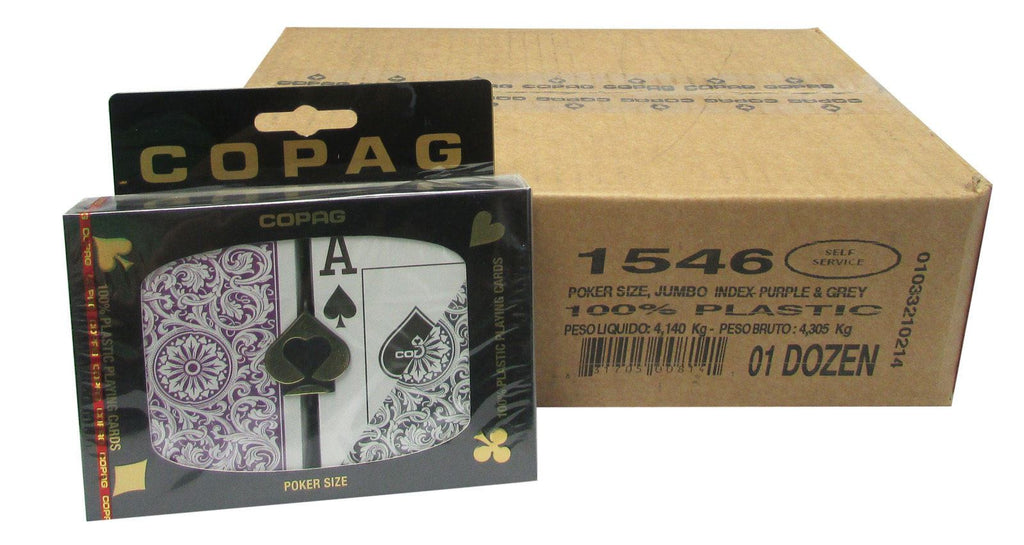 Playing Cards - 1 Dozen 12 Sets Copag Cards Purple Grey Poker Size Jumbo Index