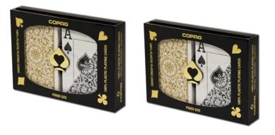 Playing Cards - 2 Sets Copag Cards Black Gold Poker Size Jumbo Index