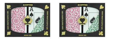 Playing Cards - 2 Sets Copag Cards Green Burgundy Bridge Size Jumbo Index