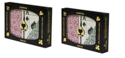Playing Cards - 2 Sets Copag Cards Green Burgundy Poker Size Jumbo Index