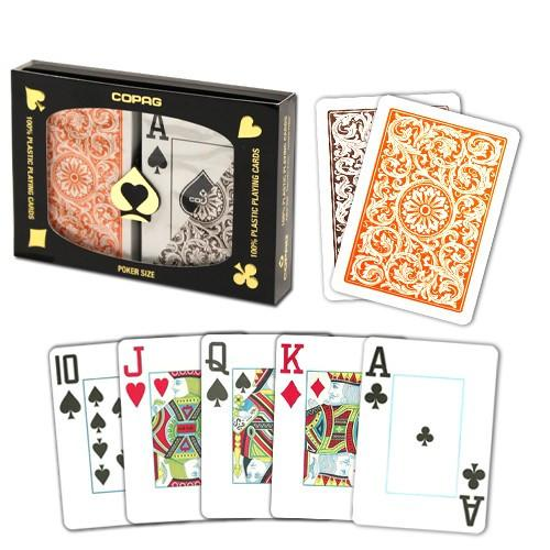 Playing Cards - 2 Sets Copag Cards Orange Brown Poker Size Jumbo Index