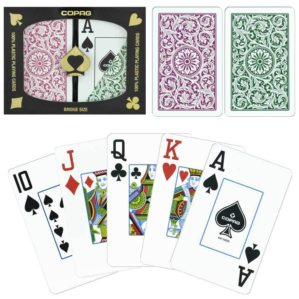 Playing Cards - Copag Cards Green Burgundy Bridge Size Jumbo Index