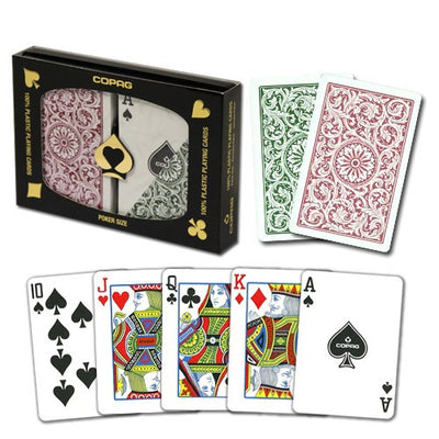 Playing Cards - Copag Green Burgundy Poker Size Standard Index