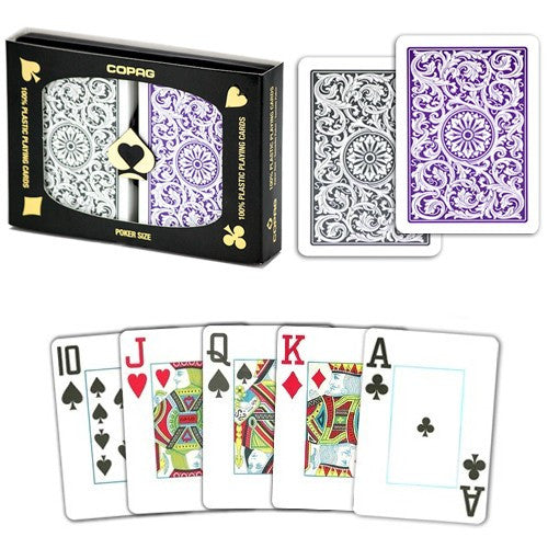Playing Cards - Copag Purple Grey Poker Size Jumbo Index