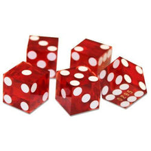 Red 19MM Precision Razor Edge Serialized Set Of 5 Craps Dice