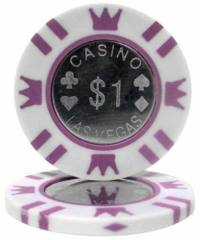 $1 White Coin Inlay 15 Gram - 100 Poker Chips