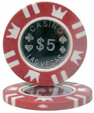 $5 Red Coin Inlay 15 Gram - 100 Poker Chips