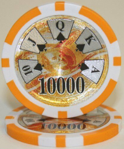 $10000 Orange Ben Franklin 14 Gram - 100 Poker Chips