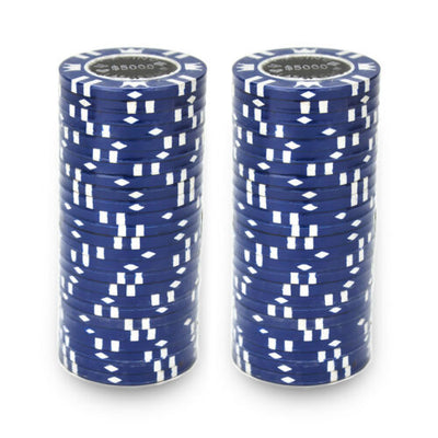 $5000 Blue Coin Inlay 15 Gram - 100 Poker Chips