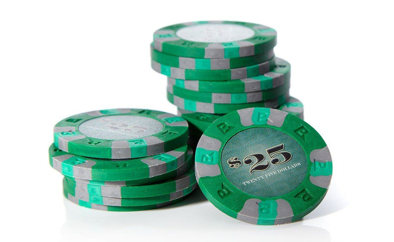 Buy 2 Get 2 Free 50 Green Monte Carlo 14g $25 Dollar Clay Poker Chips NEW