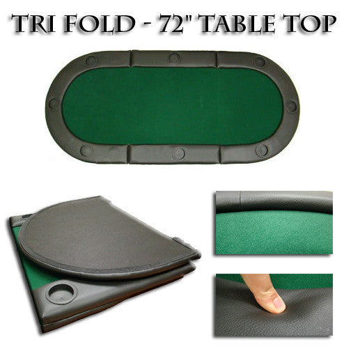 Table - Oval Poker Table Top W Cup Holders 72""