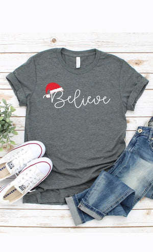 Believe In Christmas Grey Tee