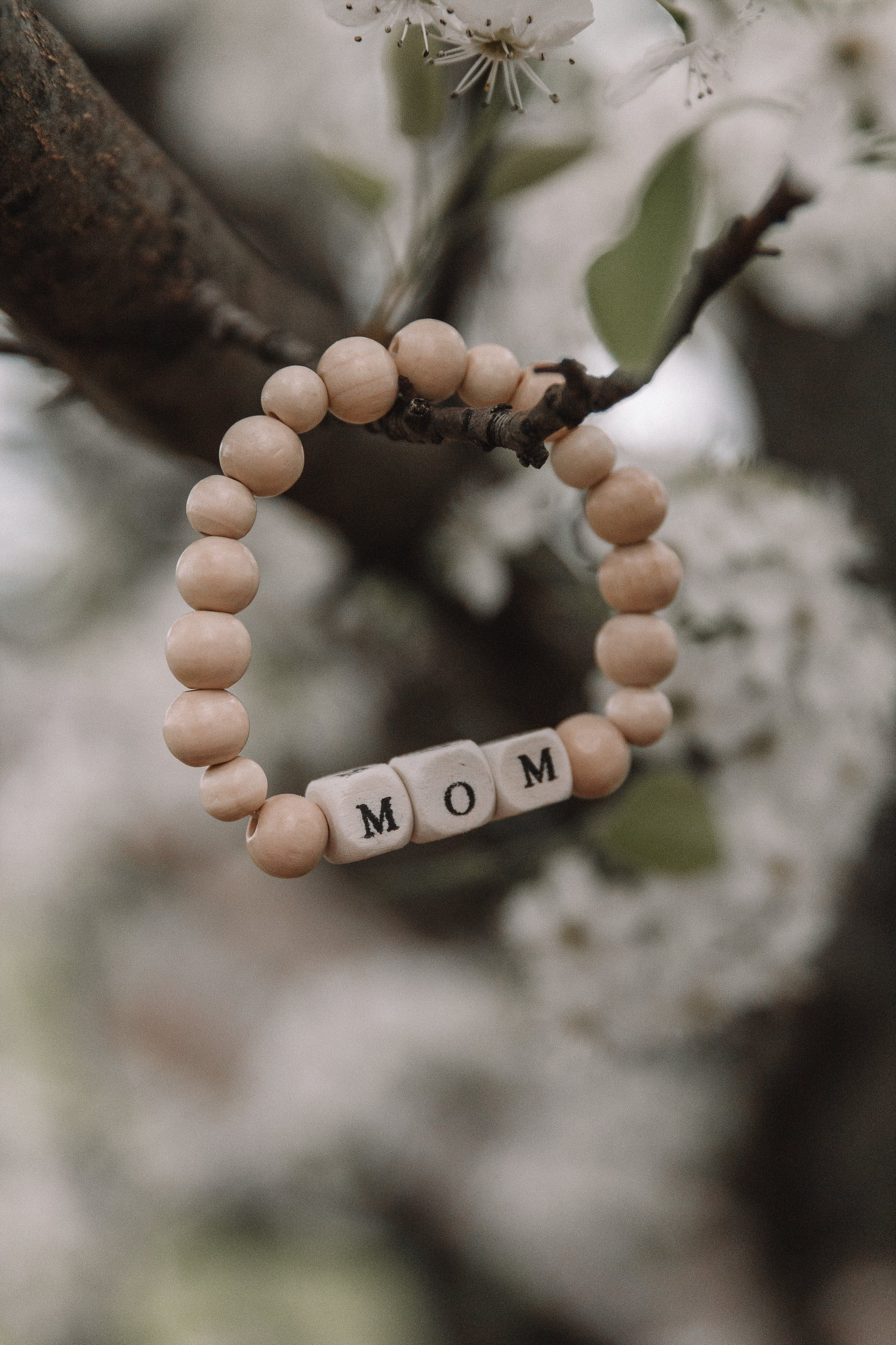 Mom Wood Bead Bracelet