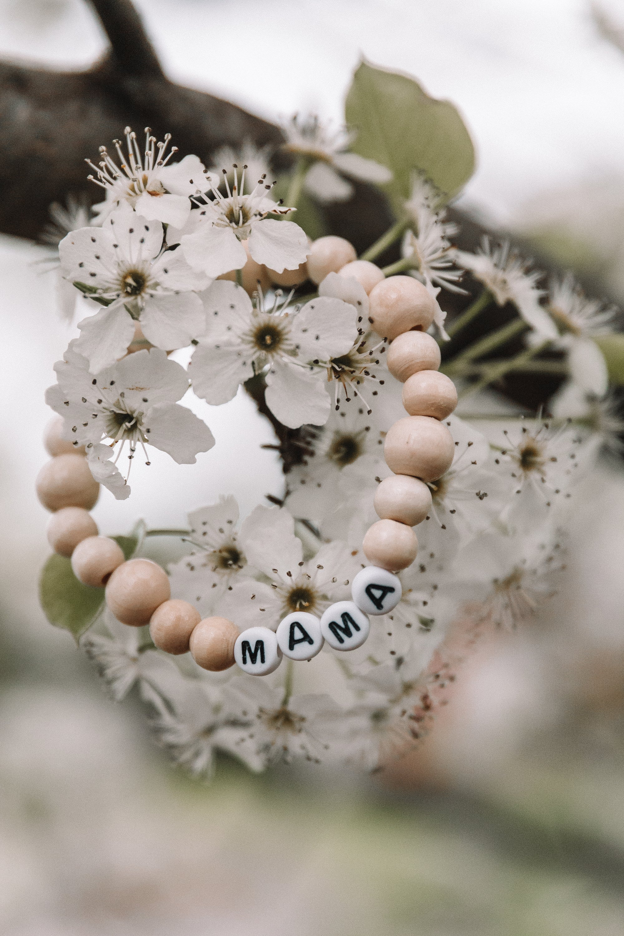 Mama White & Wood Mixed Bracelet