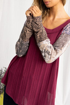 Burgundy Leopard Mixed Tee