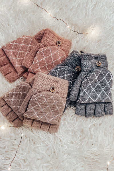 Diamond Weave Fingerless Gloves