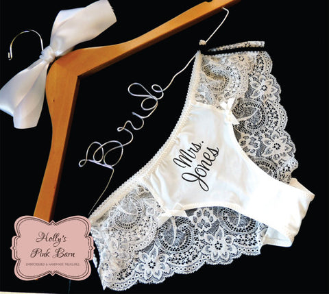 FAST SHIPPING White Lace Personalized Sexy Bridal Panty Bridal Panties